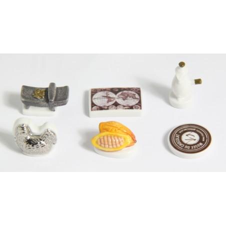 fèves en porcelaine personnalisées, thème musée du chocolat Gelencser