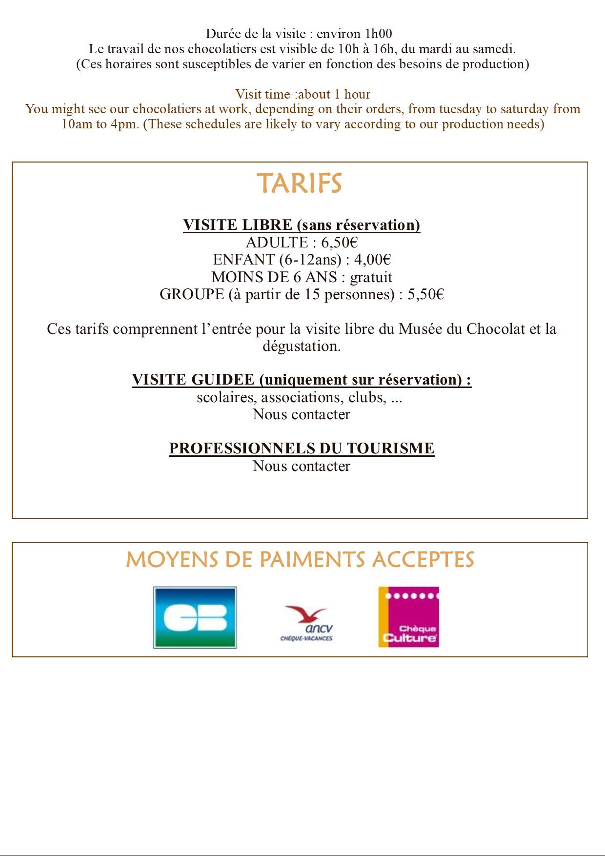Horaire musée du chocolat , La Roche sur Yon, Vendée